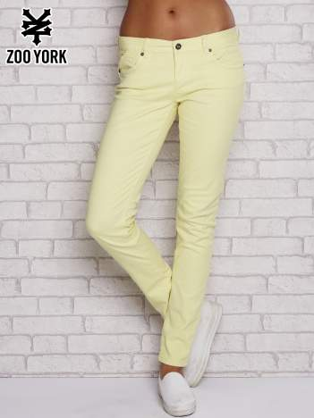 Żółte proste spodnie z napami