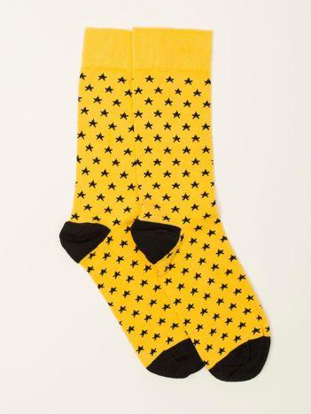 Żółte skarpety męskie w gwiazdki