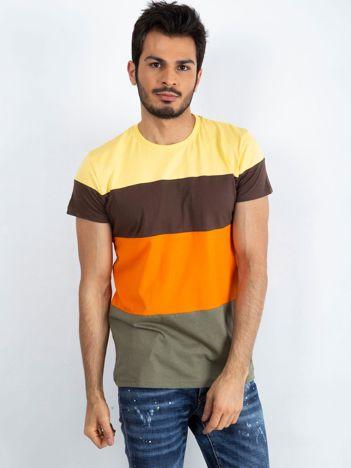 Żółto-pomarańczowy t-shirt męski Modify