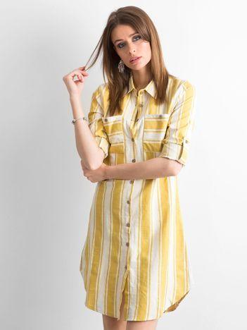 Żółto-zielona sukienka szmizjerka w paski