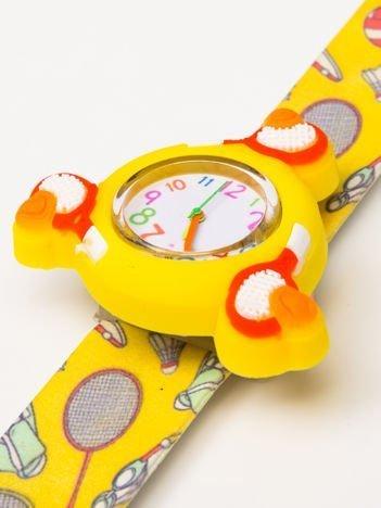 Żółty OBROTOWY zegarek dziecięcy z paskiem typu SLAP