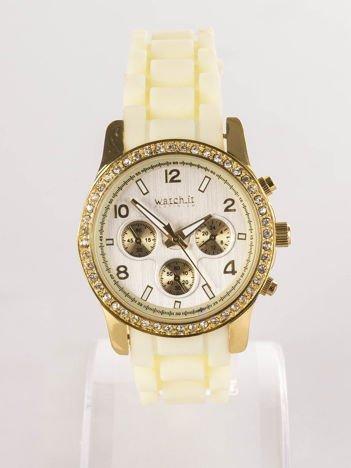 Żółty silikonowy zegarek damski
