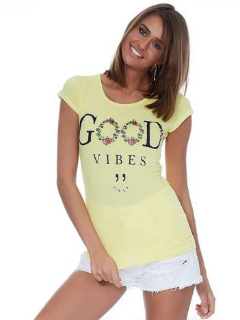 Żółty t-shirt GOOD VIBES