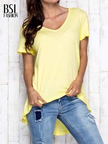Żółty t-shirt acid wash z asymetrycznym dołem
