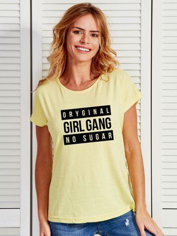 Żółty t-shirt damski ORIGINAL GIRL GANG