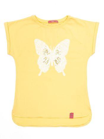 Żółty t-shirt dla dziewczynki z cekinowym motylem