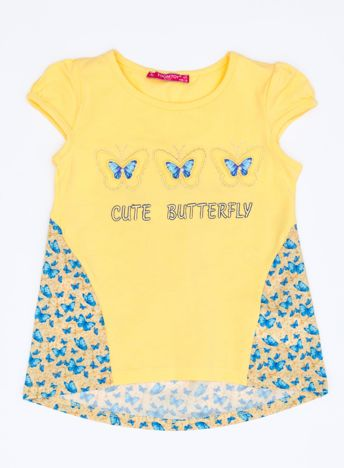 Żółty t-shirt dla dziewczynki z nadrukiem motyli