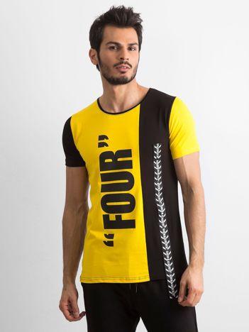 Żółty t-shirt męski z bawełny