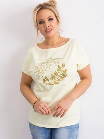 Żółty t-shirt plus size z nadrukiem roślinnym