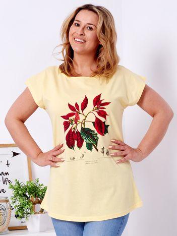 Żółty t-shirt z poinsecją PLUS SIZE