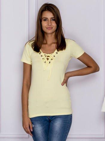 Żółty t-shirt z wiązaniem