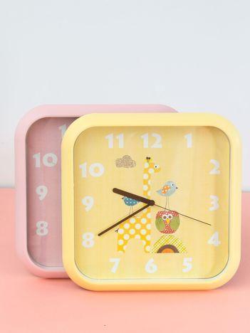 Żółty zegar na ścianę z motywem zwierzęcym