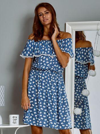 Zwiewna sukienka letnia hiszpanka w kokardki niebieska