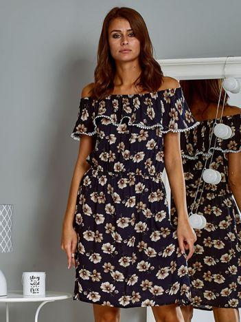 Zwiewna sukienka letnia hiszpanka w kwiaty granatowa
