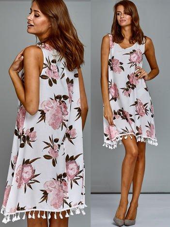 Zwiewna sukienka letnia w kwiaty biało-różowa