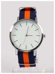 Nowoczesny i elegancki zegarek unisex granatowo-pomarańczowy. Doskonały na każdą okazję.