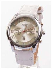 AMBER TIME Klasyczny męski zegarek. Skórzany pasek. Datownik.