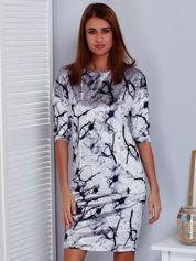 Aksamitna sukienka w roślinne wzory szara