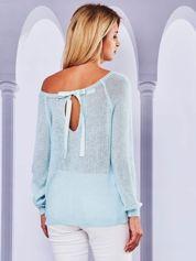 Ażurowy sweter z kokardą na plecach miętowy
