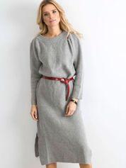 BY O LA LA Szara długa sukienka z dzianiny