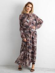 BY O LA LA Wzorzysta sukienka maxi brązowa