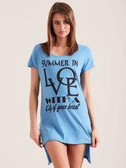Bawełniana koszula nocna z napisem niebieska