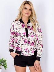 Beżowa bluza bomberka floral print