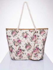 Beżowa plażowa torba w kwiaty na sznurku