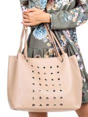 Beżowa torba z ażurowaniem ze skóry ekologicznej
