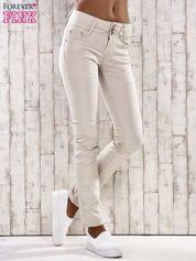 Beżowe spodnie skinny jeans gniecione