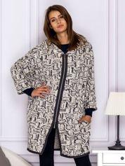 Beżowo-szary wzorzysty sweter z kapturem