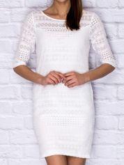 Biała ażurowa sukienka dzienna