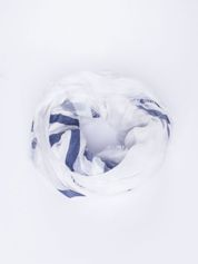 Biała bawełniana chustka z frędzelkami
