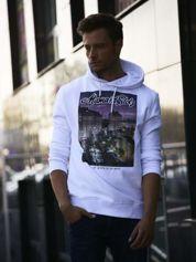 Biała bluza męska z kapturem i miejskim nadrukiem