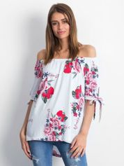 Biała bluzka hiszpanka w kwiatowe wzory