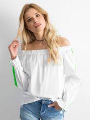Biała bluzka hiszpanka z fluo zielonymi lampasami