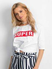 Biała bluzka oversize z napisem SUPER