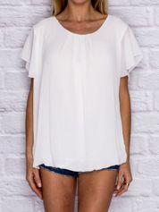 Biała bluzka z ozdobną ażurową wstawką na plecach