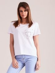 Biała bluzka z perełkami