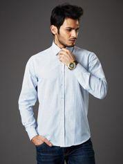 Biała koszula męska o prostym kroju w drobny wzór