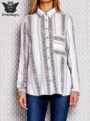 Biała koszula w kolorowe paski