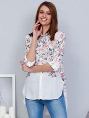 Biała koszula w kwiaty z dłuższym tyłem