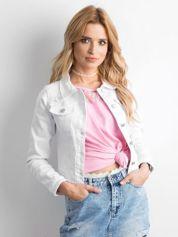 Biała krótka kurtka jeansowa