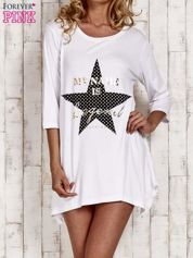 Biała tunika dresowa z printem gwiazdy