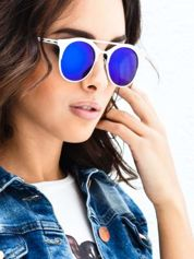 Białe okulary przeciwsłoneczne w stylu vintage retro lustrzanka