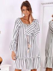 Biało-czarna sukienka hiszpanka oversize w paski