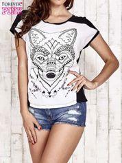 Butik Biało-czarny t-shirt z wilkiem w azteckim stylu