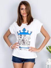 Biały t-shirt NAP QUEEN