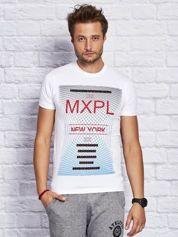 Biały t-shirt męski z nadrukiem w miejskim stylu