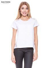Biały t-shirt z koronkowymi wstawkami